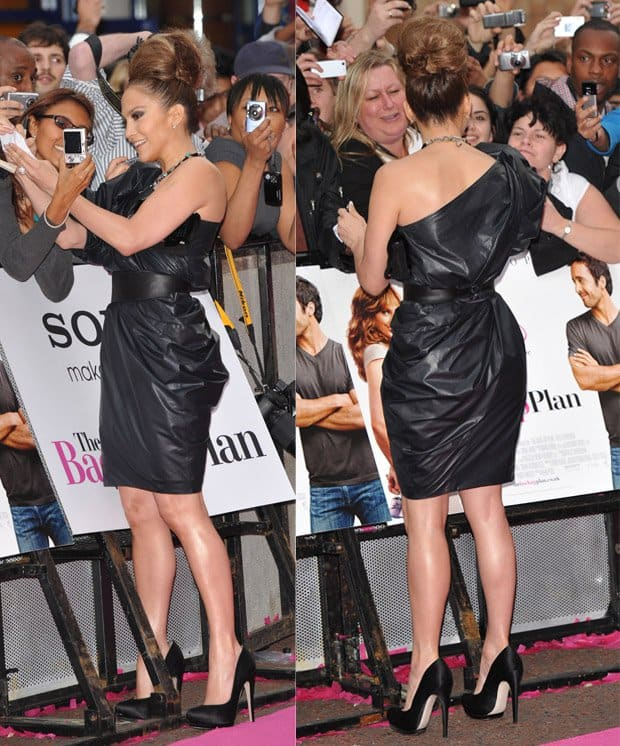 Jennifer Lopez wearing a Lanvin one-shoulder dress that was cinched at the waist