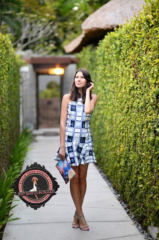 Julia in a cute mini dress and dainty silver sandals