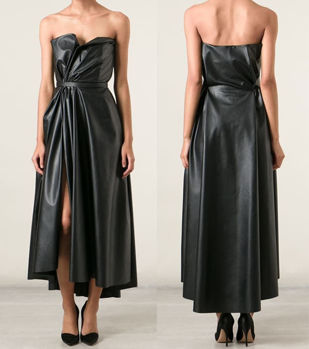 Lanvin Gathered Faux Leather Corseted Dress