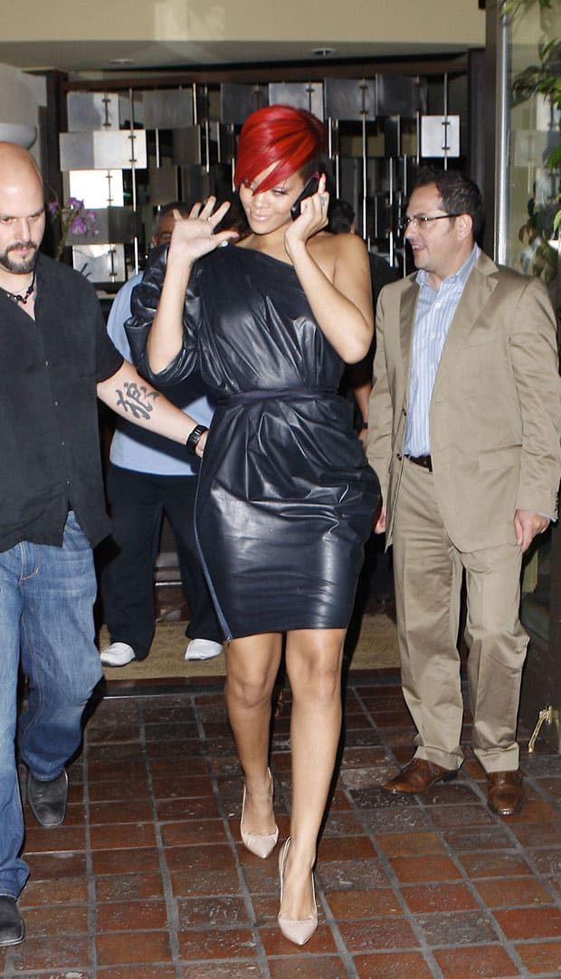 Rihanna wearing a Lanvin one-shoulder dress while leaving AGO restaurant in California on July 19, 2010