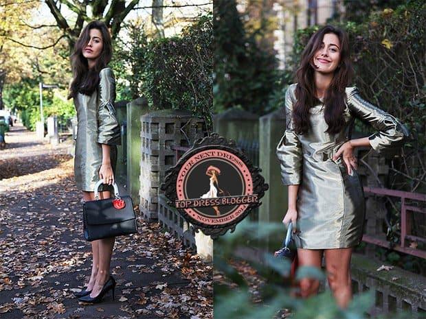 Sylvia's metallic mini dress and black pumps
