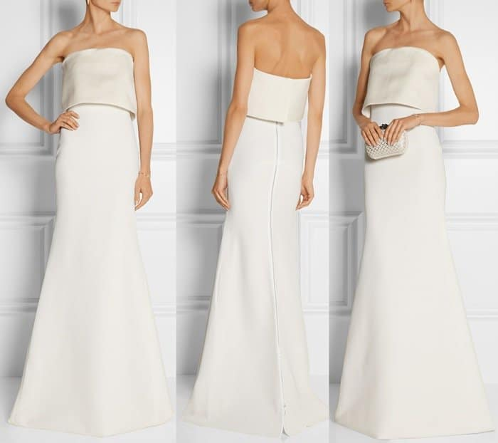 Victoria Beckham white Silk and wool-blend gown