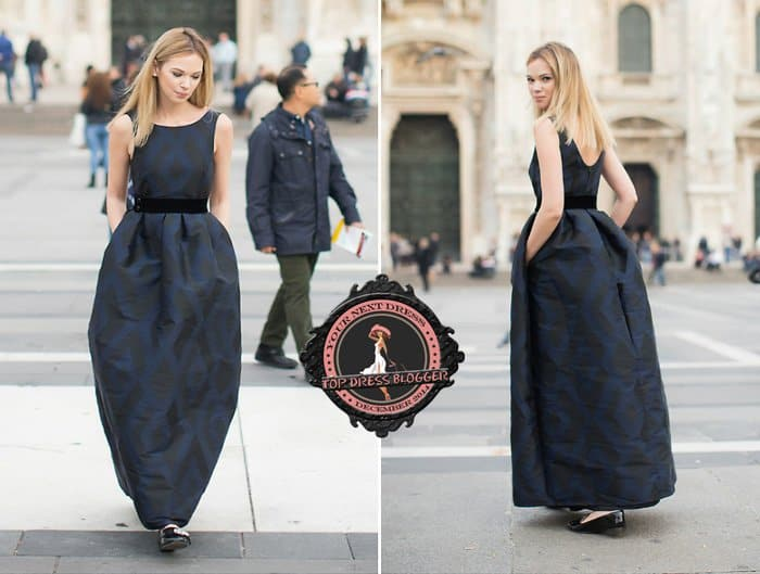 Anastasiia styled her black maxi dress with Miu Miu loafers