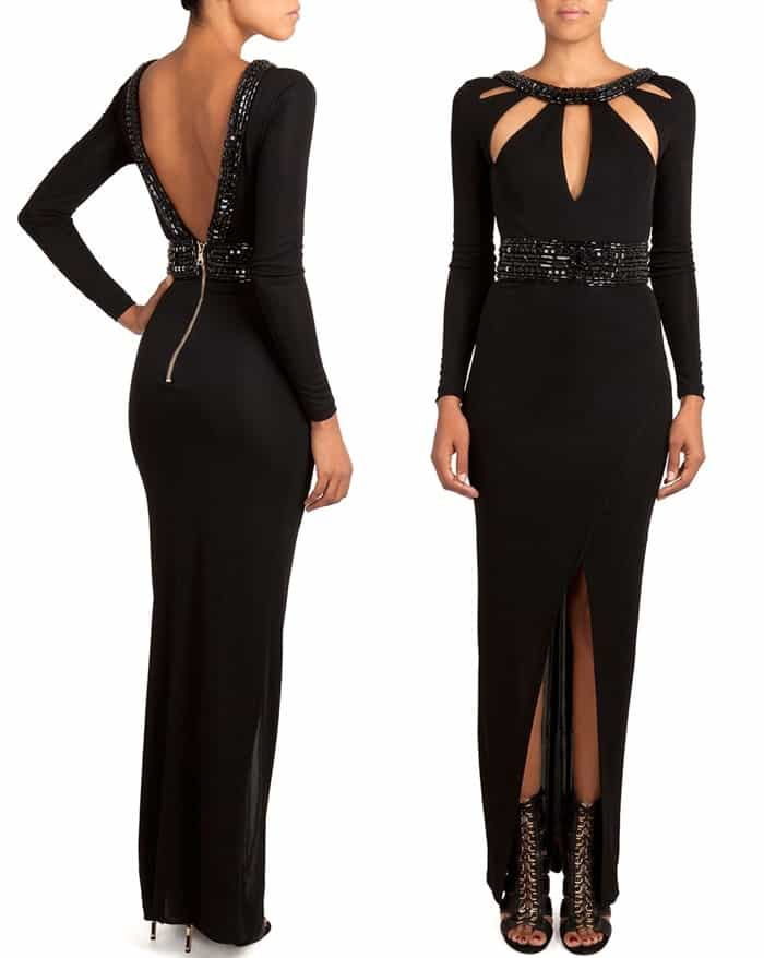 Balmain Gown with Cutout Bodice and Beaded Trim