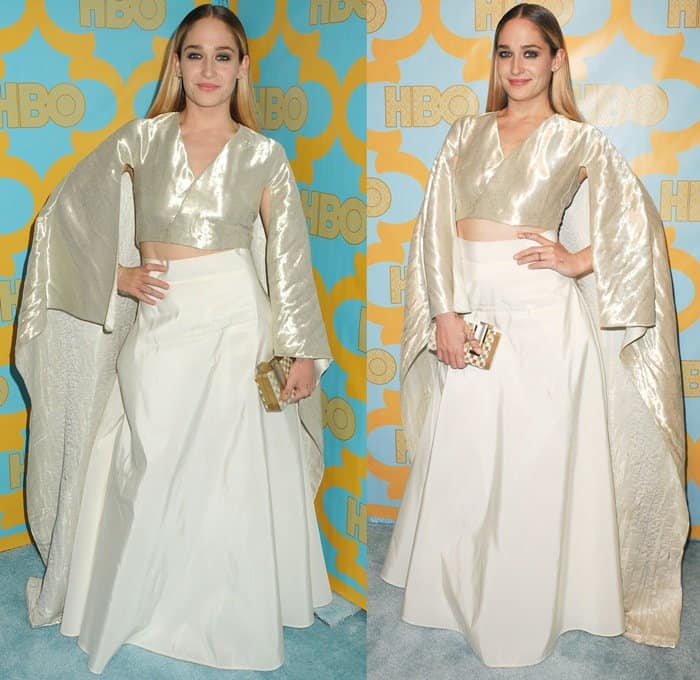 Jemima Kirke in a two-piece ensemble from the Rosie Assoulin Resort 2015 collection