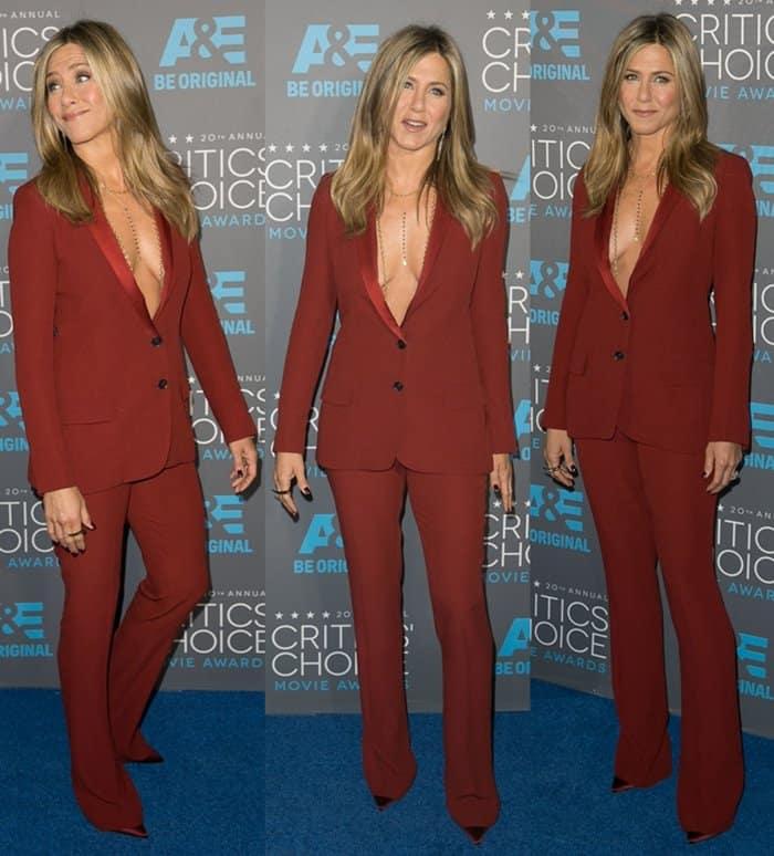 Jennifer Aniston rocks a sexy burnt sienna pantsuit