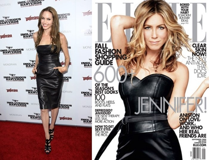 Jennifer Aniston and Angelina Jolie wear leather dresses