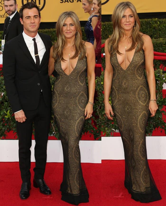 Jennifer Aniston and her fiance Justin Theroux on the red carpet