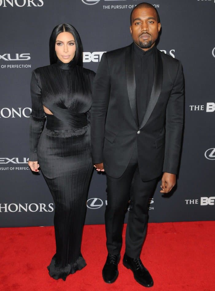 Kim Kardashian and Kanye West at the 2015 BET Honors held at the Warner Theatre in Washington on January 24, 2015