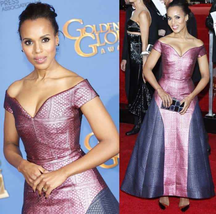 Kerry Washington in an off-the-shoulder pink and purple gown from Mary Katrantzou's Pre-Fall 2015 collection