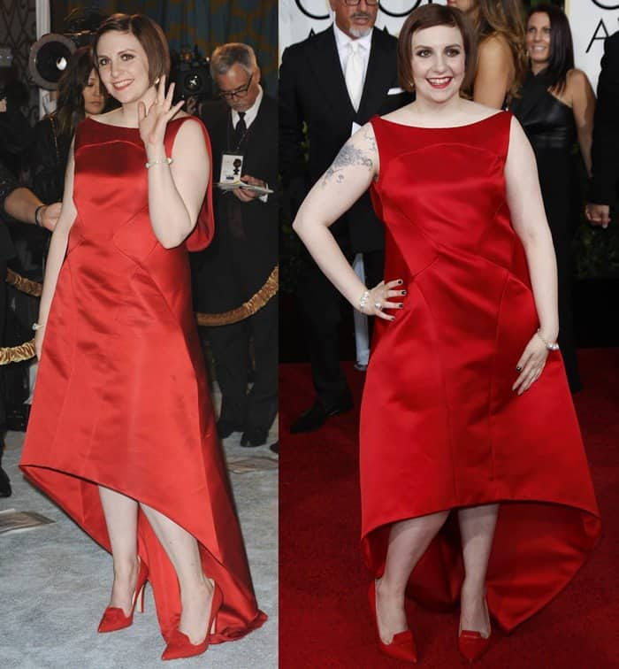 Lena Dunham in a red satin high-low gown from the Zac Posen Spring 2015 collection featuring a draped back