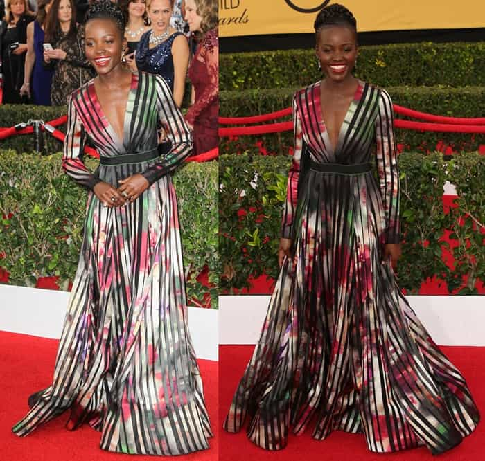 Lupita Nyong'o on the red carpet at the 2015 Screen Actors Guild Awards