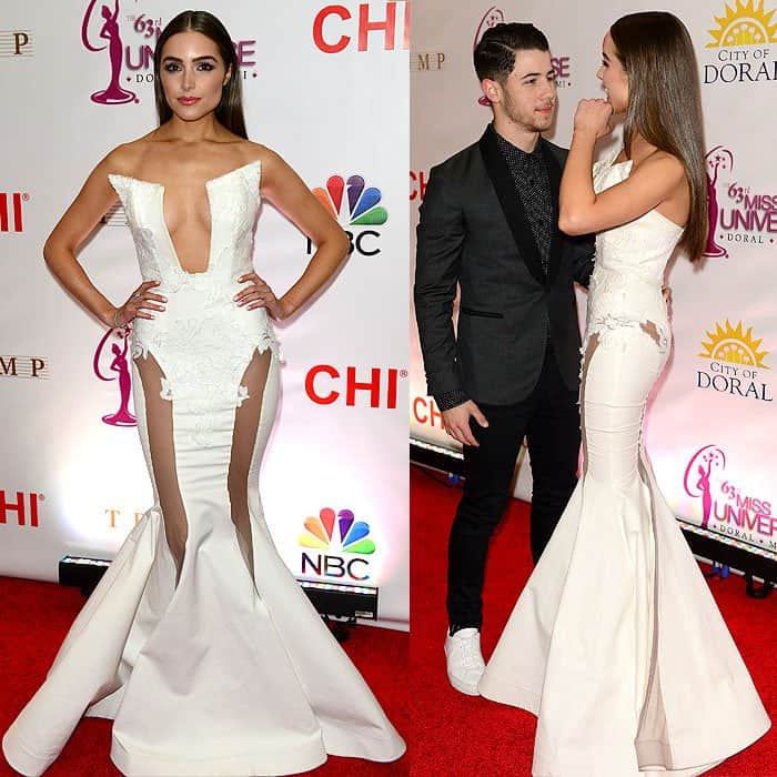 Olivia Culpo in an MT Costello evening gown that leaves little to the imagination