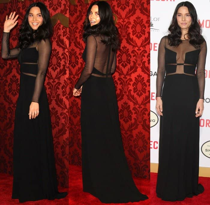 Olivia Munn in a Ralph Rucci dress at the premiere of Mortdecai