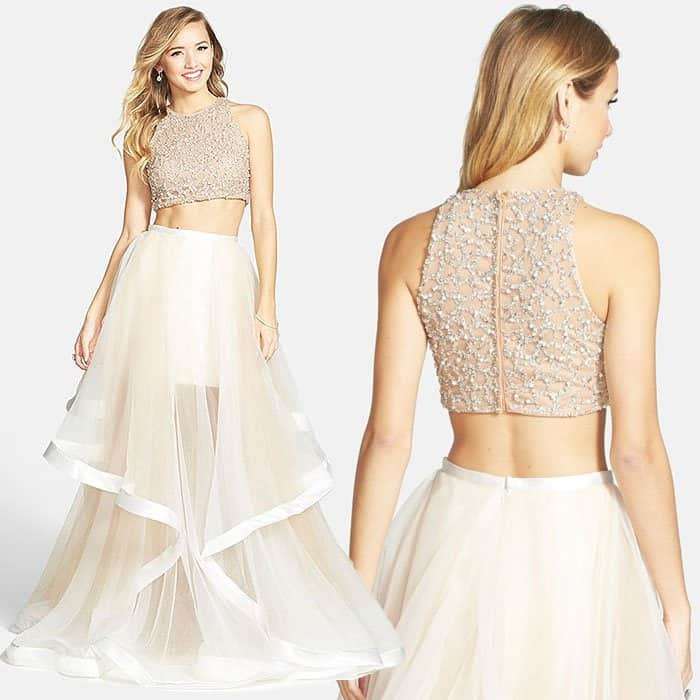 Terani Couture Beaded Top & Organza Two-Piece Ballgown