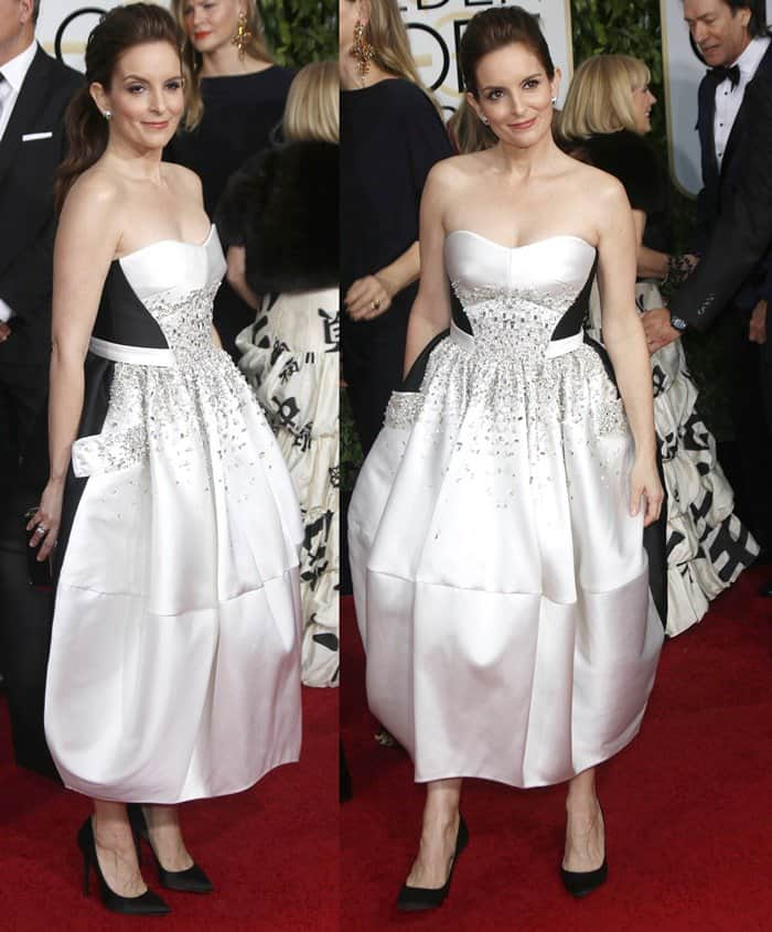 Tina Fey in a custom strapless white and black gown from Antonio Berardi featuring decorative embellishments and a tulip shaped skirt