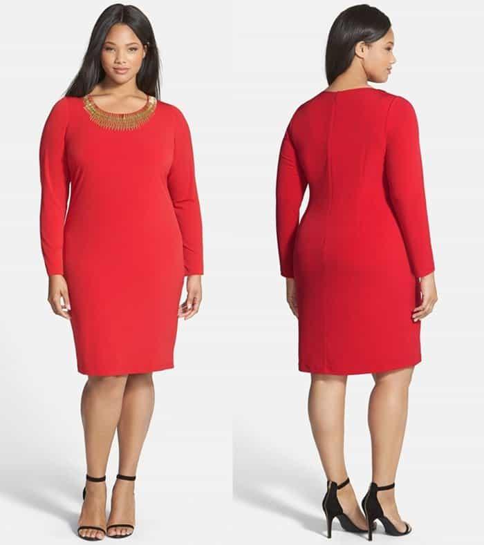 Calvin Klein Embellished Neck Matte Jersey Sheath Dress