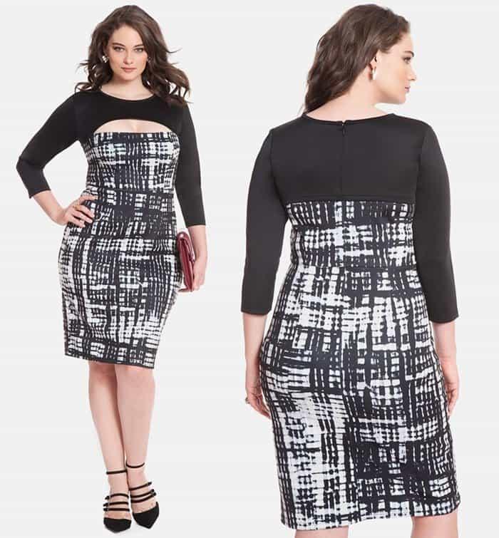 ELOQUII Print Block Cutout Dress
