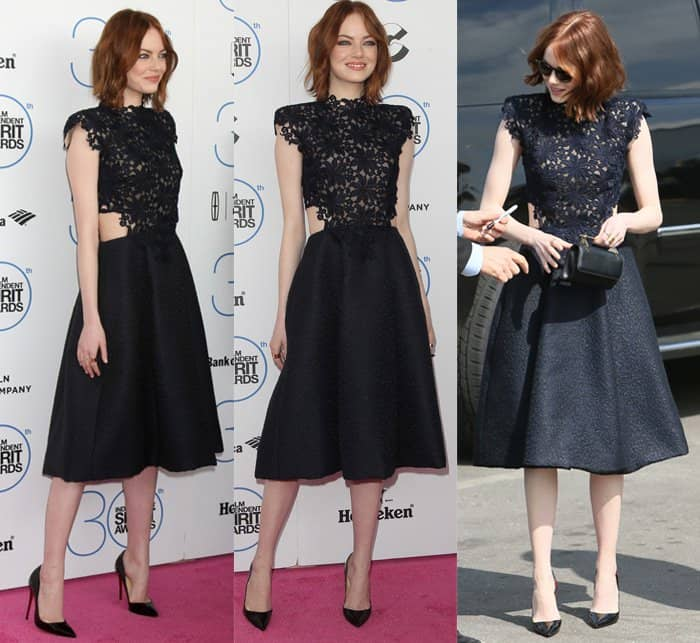 Actress Emma Stone wearing a Monique Lhuillier guipure lace textured A-line dress