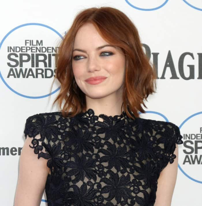 Actress Emma Stone attends the 2015 Film Independent Spirit Awards at Santa Monica Beach on February 21, 2015, in Santa Monica, California