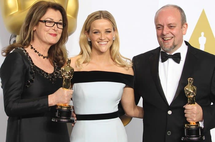 Frances Hannon, Reese Witherspoon, and Mark Coulier at the 2015 Academy Awards