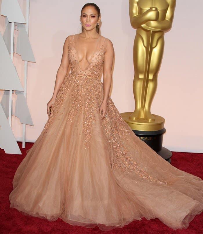 Jennifer Lopez rocked a cleavage-baring floor-length dress