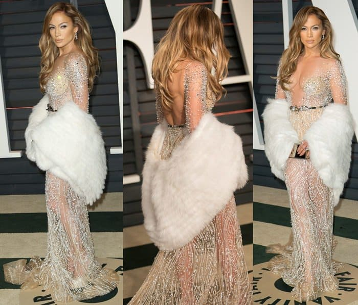 Jennifer Lopez rocks a Helen Yarmak fur stole at the Vanity Fair party