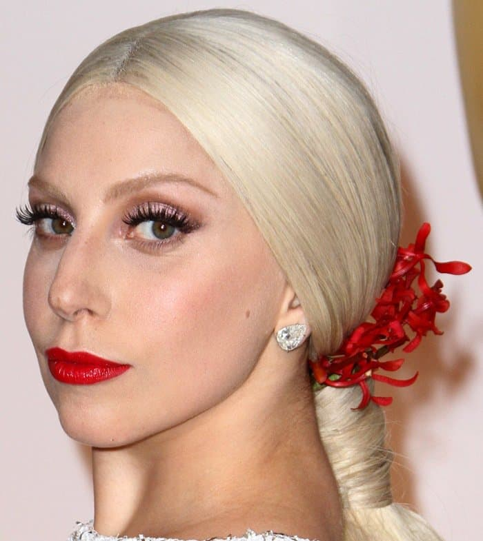 Frederic Aspiras styled Lady Gaga's hair and Sarah Tanno was responsible for her makeup
