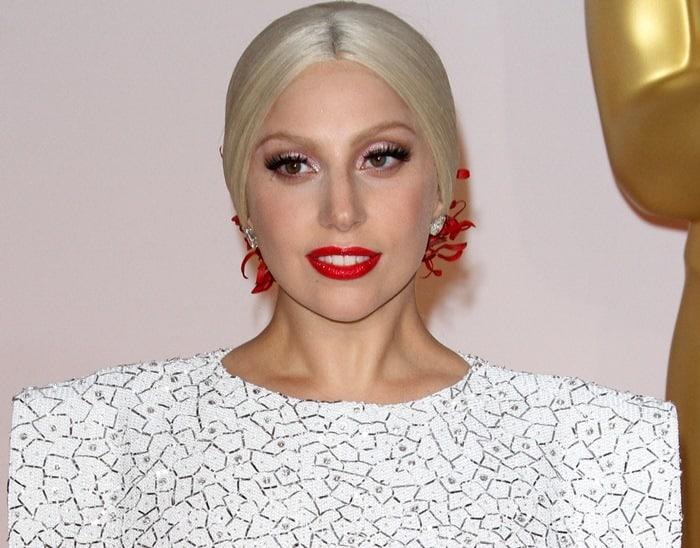 Lady Gaga wearing a custom Azzedine Alaïa dress made in Paris