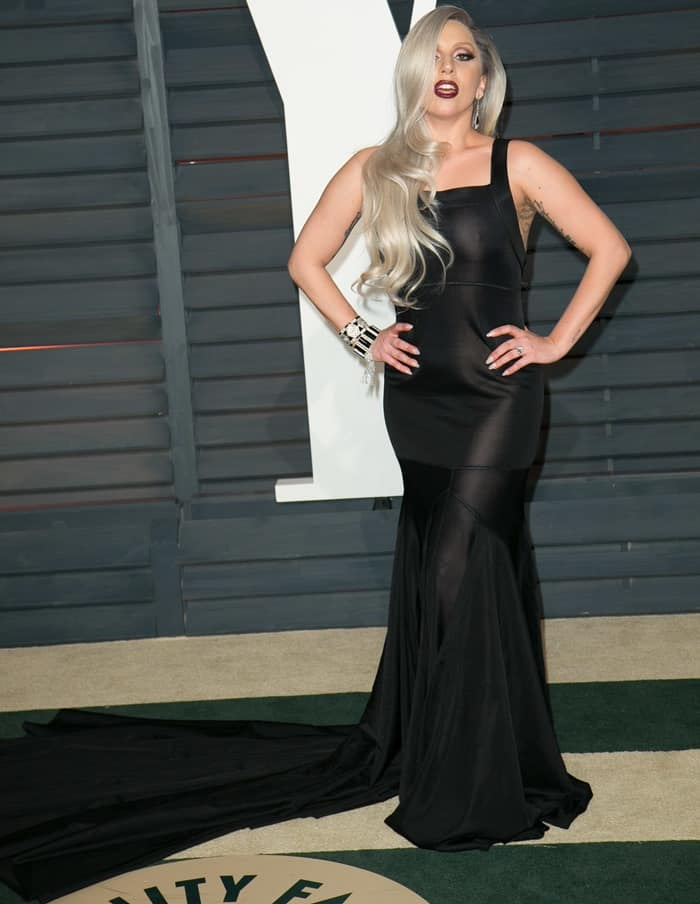 Lady Gaga rocks a floor-length black Azzedine Alaïa dress