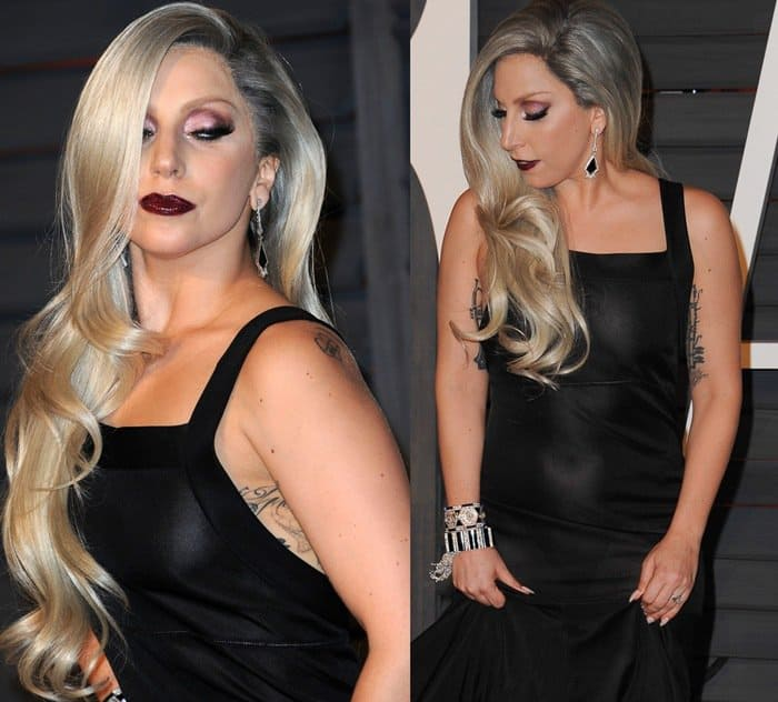 Lady Gaga's dark cherry lip and see-through dress