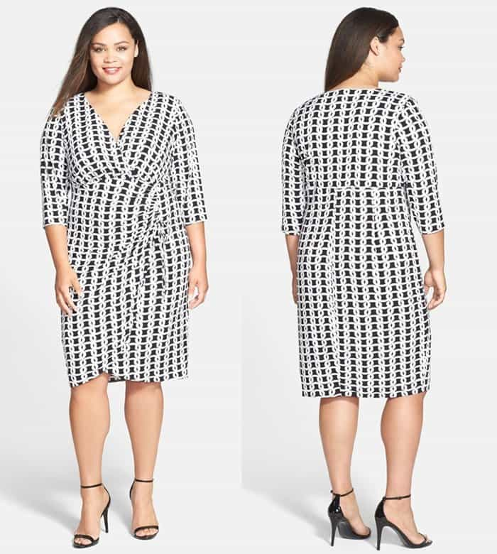 London Times Print Side Ruched Matte Jersey Dress