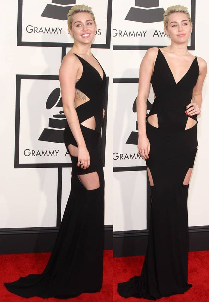 Miley Cyrus in a sexy black dress on the red carpet at the 2015 Grammy Awards