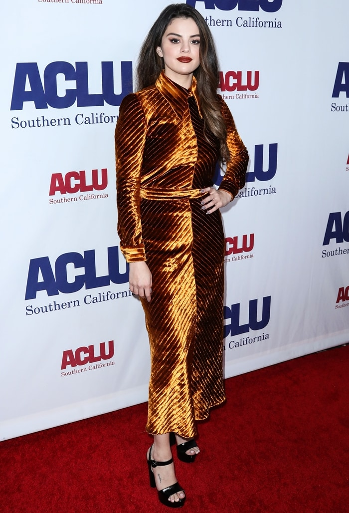 Third-generation American-Mexican singer Selena Gomez wearing Prada arrives at ACLU SoCal's Annual Bill Of Rights Dinner 2019