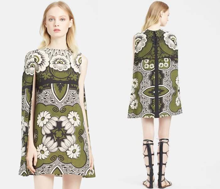 Valentino Multicolor Foulard Print Crepe de Chine Half Cape Dress