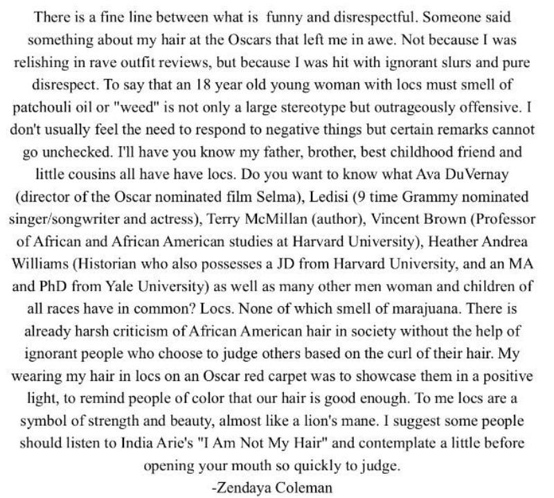Zendaya defends her African American hair on Twitter