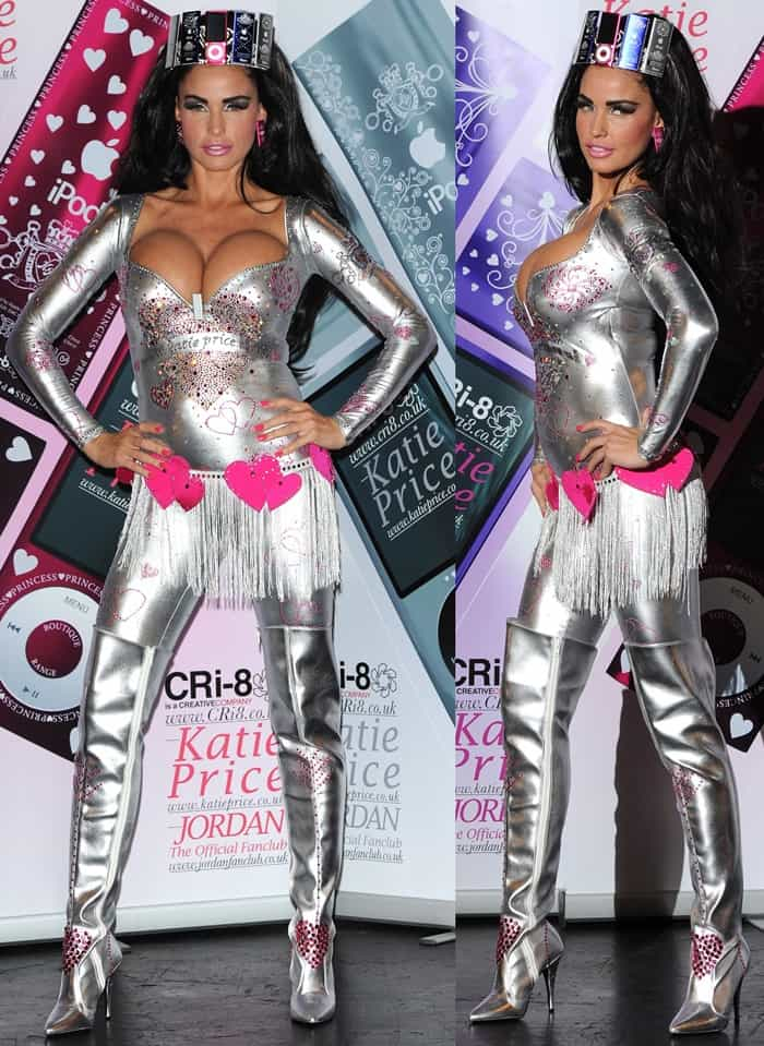 Katie Price dressed as a giant silver iPod and accessorized with Nanos as earrings