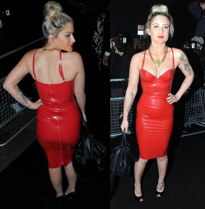 Katie Waissel shows off her cleavage in a figure-hugging red latex dress