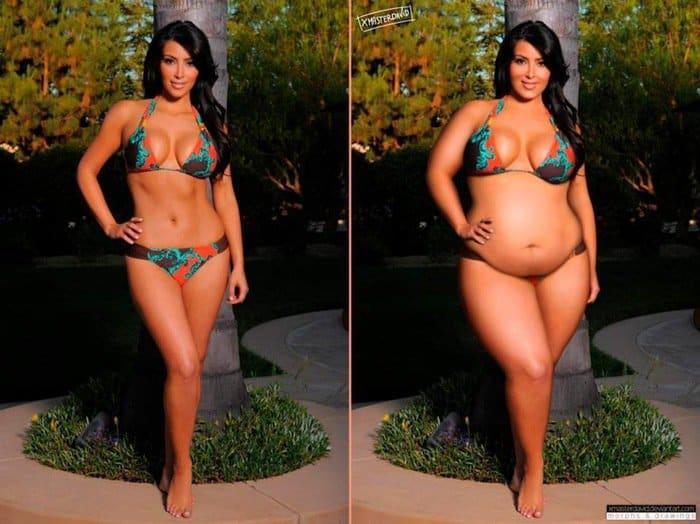 Kim Kardashian with a few extra pounds