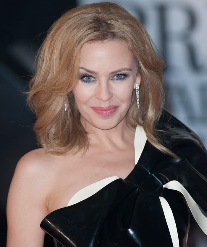 Kylie Minogue at the Brit Awards 2014 held at the O2 Arena in London on February 19, 2014