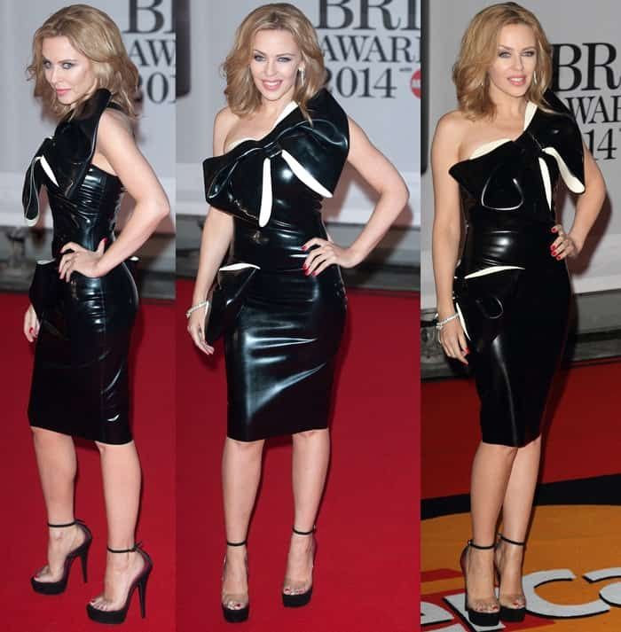 Kylie Minogue in a one-shoulder dress from London latex designer William Wilde
