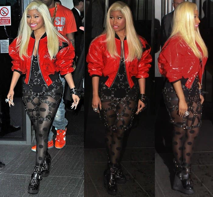 Nicki Minaj in barely-there shorts and buckled boots
