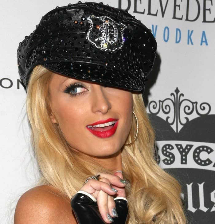 Paris Hilton rocks a studded black hat