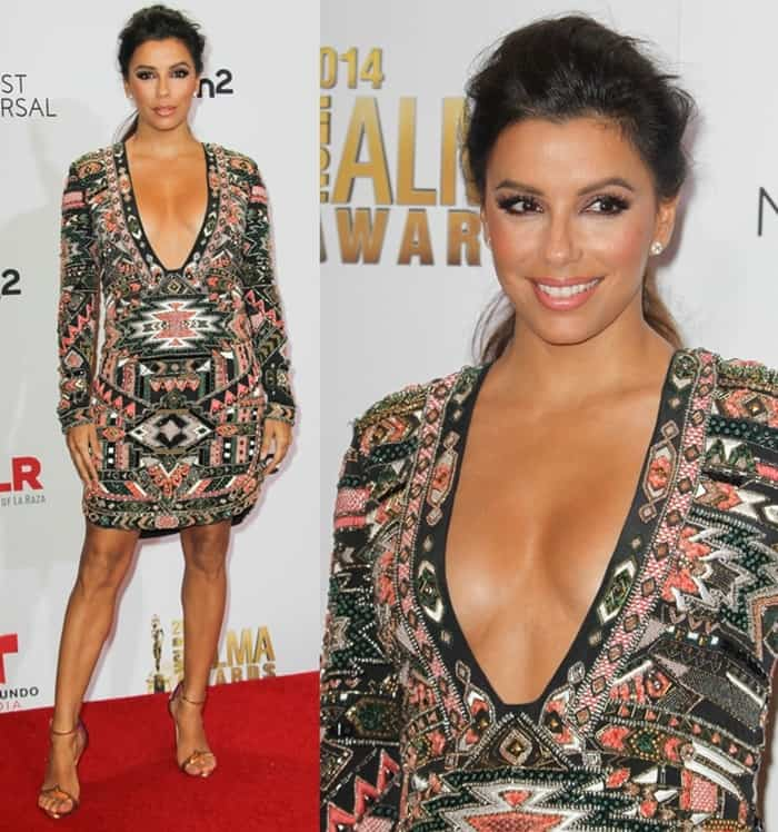 Short actress Eva Longoria flaunted her legs at the 2014 NCLR ALMA Awards