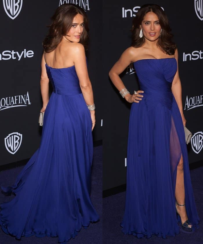 Salma Hayek in a long blue dress at the 16th Annual InStyle and Warner Bros. Golden Globe after-party