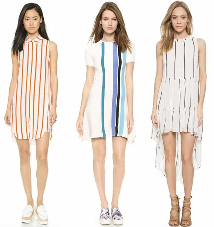 Vertical lines, such as stripes and details, will draw the eyes upward and create the illusion of a taller silhouette