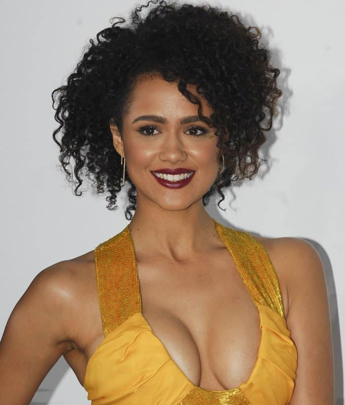 Nathalie Emmanuels Extreme Cleavage In Marigold Cut Out Front Dress