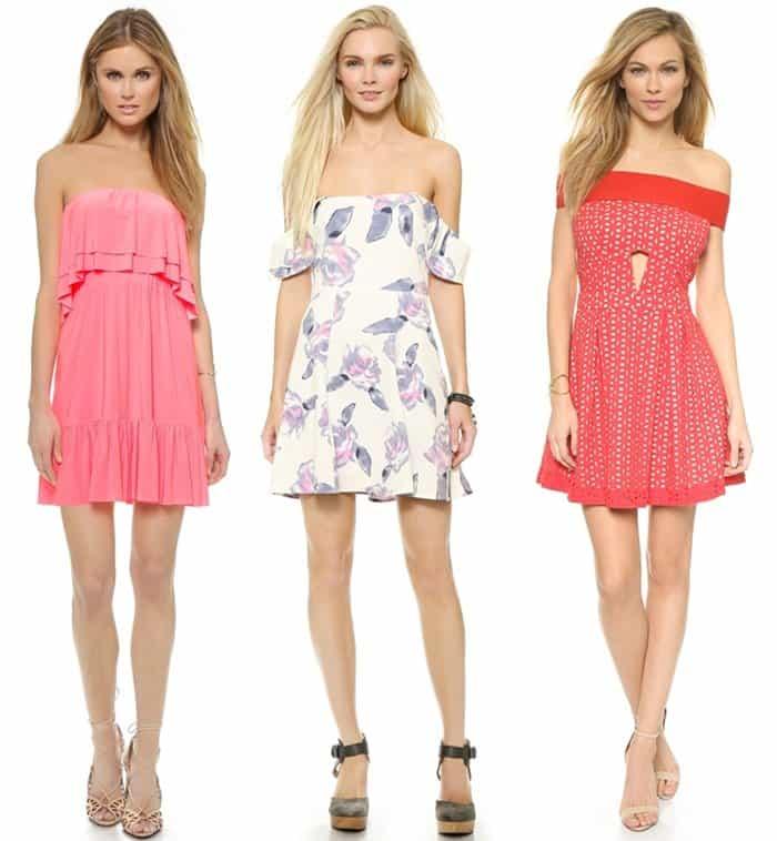 Rectangular Shape Off Shoulder Dresses