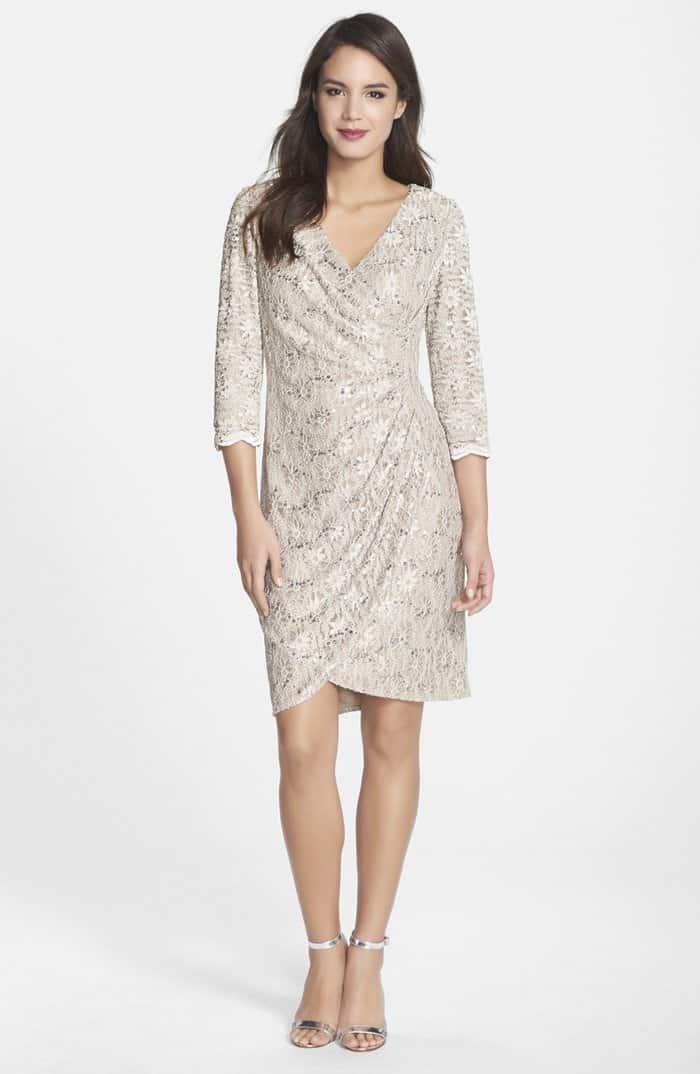 Alex Evenings Sequin Lace Faux Wrap Dress
