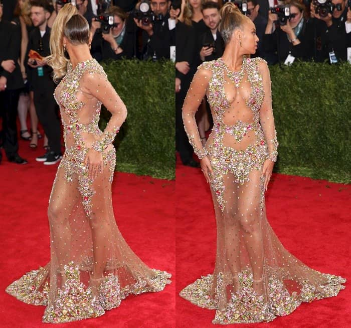 Beyonce Goes Commando In Skin Baring Sheer Tulle Evening Dress